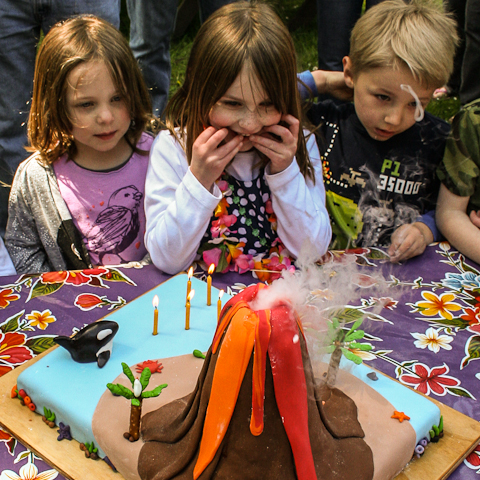 Brilliant Erupting Volcano Cake Flour Arrangements Personalised Birthday Cards Veneteletsinfo