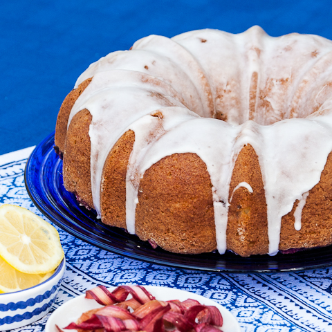 Lemon Rhubarb Bundt Cake with Candied Rhubarb Curls