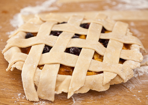 Peach Pie with Blackberries and Ginger