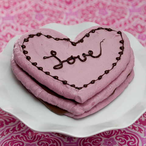 Raspberry Meringue Heart Stack