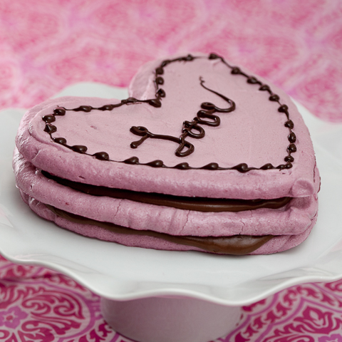 Raspberry Meringue Hearts with Chocolate Pudding