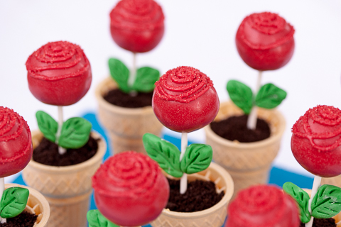 Rose Cake Pops in Edible Flower Pots | flourarrangements.org