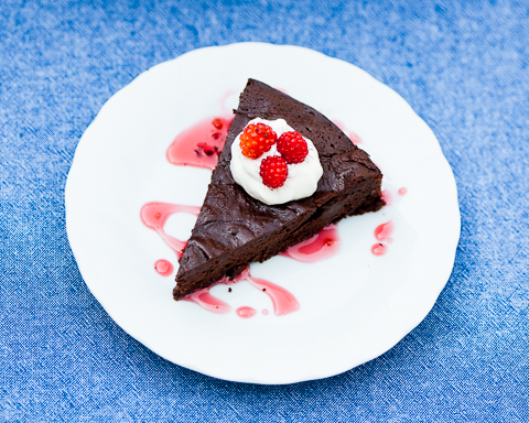Bittersweet Chocolate Cake with Salmon Berry Syrup