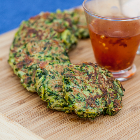 Zucchini Pancakes with Basil & Blue Cheese | Flour Arrangements